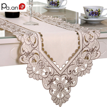 Europe Table Runner Ployester Lace Wedding Decoration Embroidered Floral Table Cover Dustproof Runners Home Textile High Quality(China)