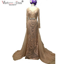 VARBOO_ELSA 2017 New Real Sample Dubai Evening Dress Luxurious Detachable Train See Through Back pearl beaded Prom Gown Crystal(China)