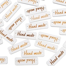 "Sewing Decorative Accessories 100Pcs ""hand made"" Tag Brand Wood Label Wooden Buttons Decorative Craft Scrapbooking Supplies(China)"
