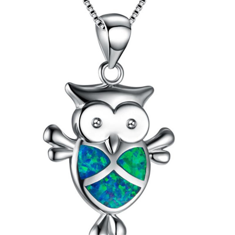 Fashion Silver Filled Blue Imitati Opal Sea Turtle Pendant Necklace for Women Female Animal Wedding Ocean Beach Jewelry Gift 2