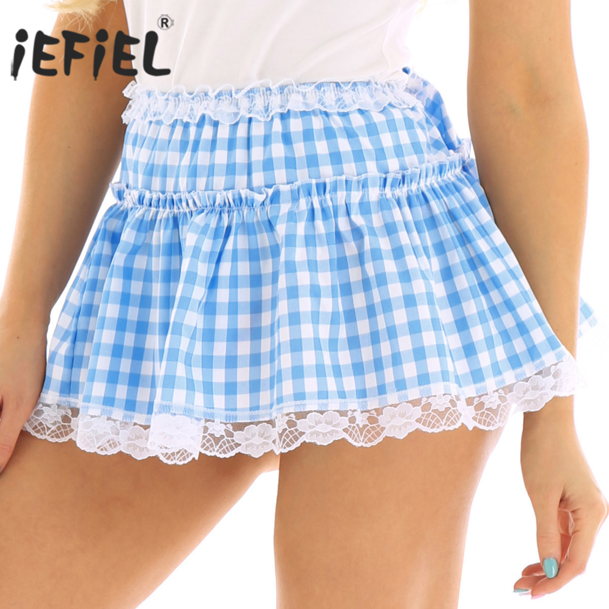 Choose Your Color Laced Pleated Plaid Mini Skirt