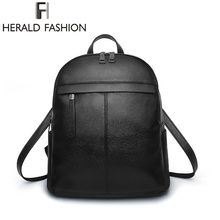 Herald Fashion Solid Women Backpacks New Brand Casual School Backpack For Teenagers Girls Large Capacity Leisure Women Purse(China)