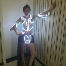 New Arrival led suit for party supplier robot for girl women LED clothing glowing light up wireless control dance bar