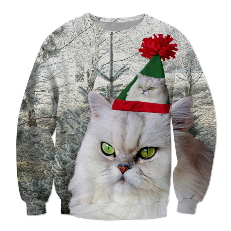Festive 3d Christmas Cat Sweatshirt