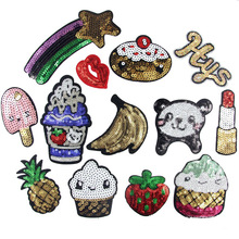 2016 new patches! 13 different size 3d handmade sequined iron on pateches for clothing iron-on transfers 20(China)