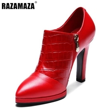 Women Pointed Toe Genuine Leather Ankle Boots Woman Zipper High Heel Bota Feminine Party Wedding Heeled Shoes Size 34-39