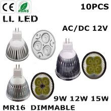 10pcs Super Bright 15W 12W 9W GU10 LED Bulb Spot Light Lamp 12V 110V 220V Dimmable GU5.3  MR16 Recessed Lighting