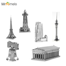 3D Metal Puzzle Assembly Kids Toy For Boy DIY Stainless Steel Toys Liberty Bell Parthenon Rockefeller Center Building Model Kits