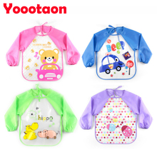 2016 New Baby long sleeve smock bibs apron waterproof Cartoon Feeding bebes baberos bavoir newbron baby clothing Saliva Towel(China)