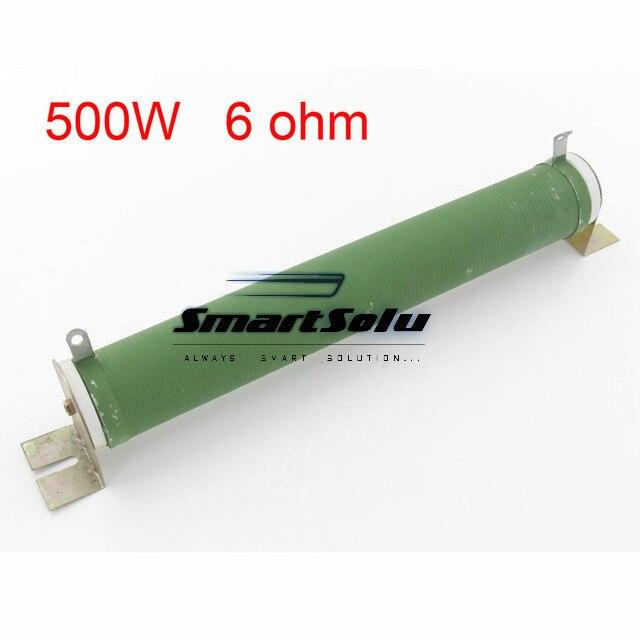 Customized Fixed Type 6 ohm 500 Watts Green Ceramic Tube Resistor<br>