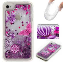 Bling Back Case Cover for iPhone 4 iphone4 Cell Phone Cases Clear Liquid Sand Fluorescent Heart Clear(China)