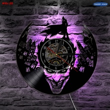 Joker Batman Gotham City Led Vinyl Wall Clock Wall Lighting Color Change Vintage LP Record Decor Light Remote Controller(China)