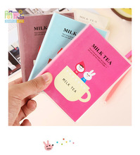 kawaii milk tea pvc cover notepad notebook for account book school office composition books office supplies planner gift(China)