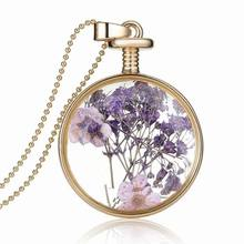 Buy 3PCS Dried Beautiful Purple Flower Natural Plant Glass Locket Necklace Gold Chain 33MM Round Locket Pendant for $10.19 in AliExpress store