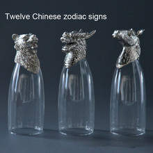 1 pcs decorative wine glass twelve Chinese zodiac signs pattern glass cup animal creative bar wine glass bottle home decors