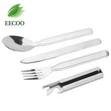 4pcs/set Portable Tableware Outdoor Picnic Utensils Set Stainless Steel Spoon Fork Knife Dinnerware Camping Cooking(China)