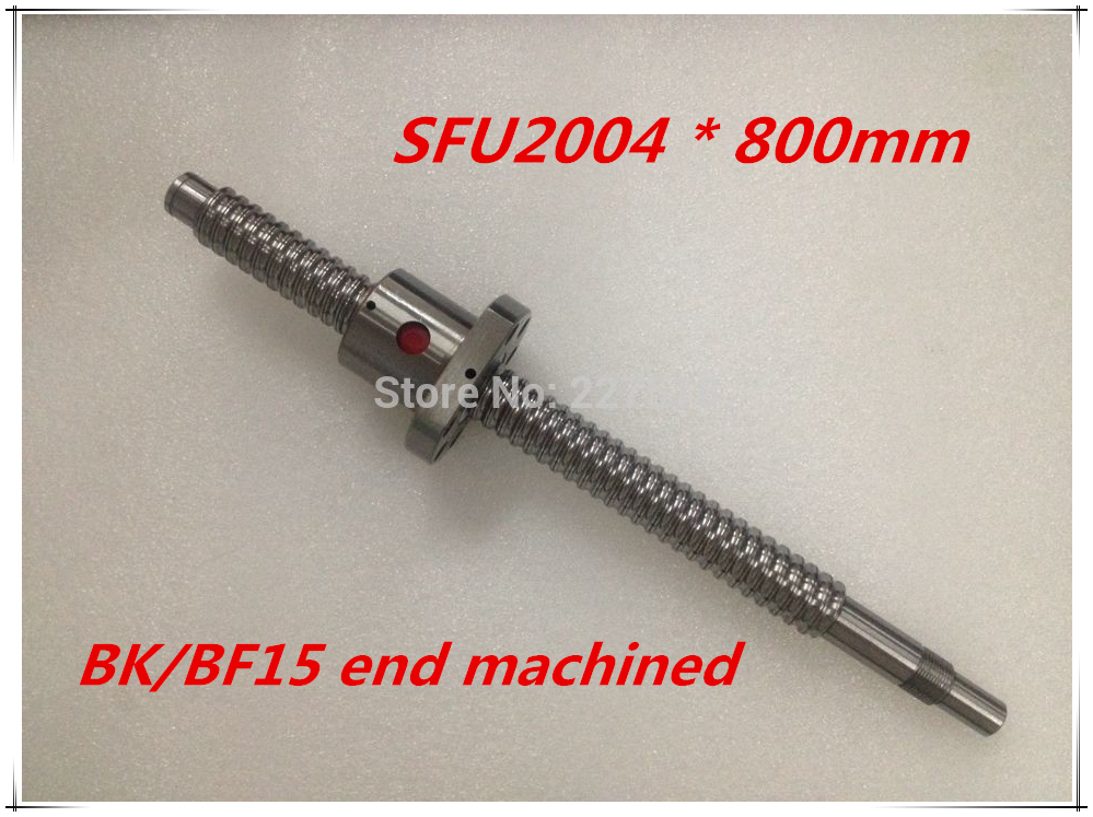 SFU2004 800mm Ball Screw Set : 1 pc ball screw RM2004 800mm+1pc SFU2004 ball nut cnc part standard end machined for BK/BF15<br>