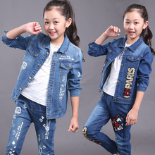 New Style Children's Clothing Girls Autumn Spring Middle Denim Casual Tide Cartoon Car Wash Flowers Girl Sets Clothes Kids