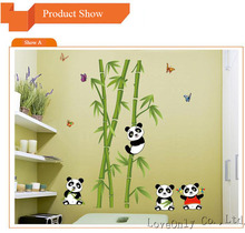 New Arrival Kids Reading Room Lounge Living Room Wall Decoration Cute Panda Bamboo Wall Sticker Removable