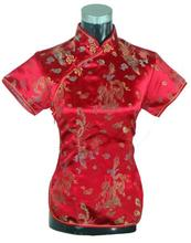 Summer Short Sleeve Red Women Shirt Tops Chinese Lady Traditional Satin Silk Blouse Novelty Dragon Clothing S M L XL XXL WS005(China)