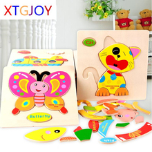 3D Puzzle Wooden Toy Jigsaw For Children Cartoon Animal Cars Fruit Fish Puzzle Intelligence Kids Educational Toys(China)