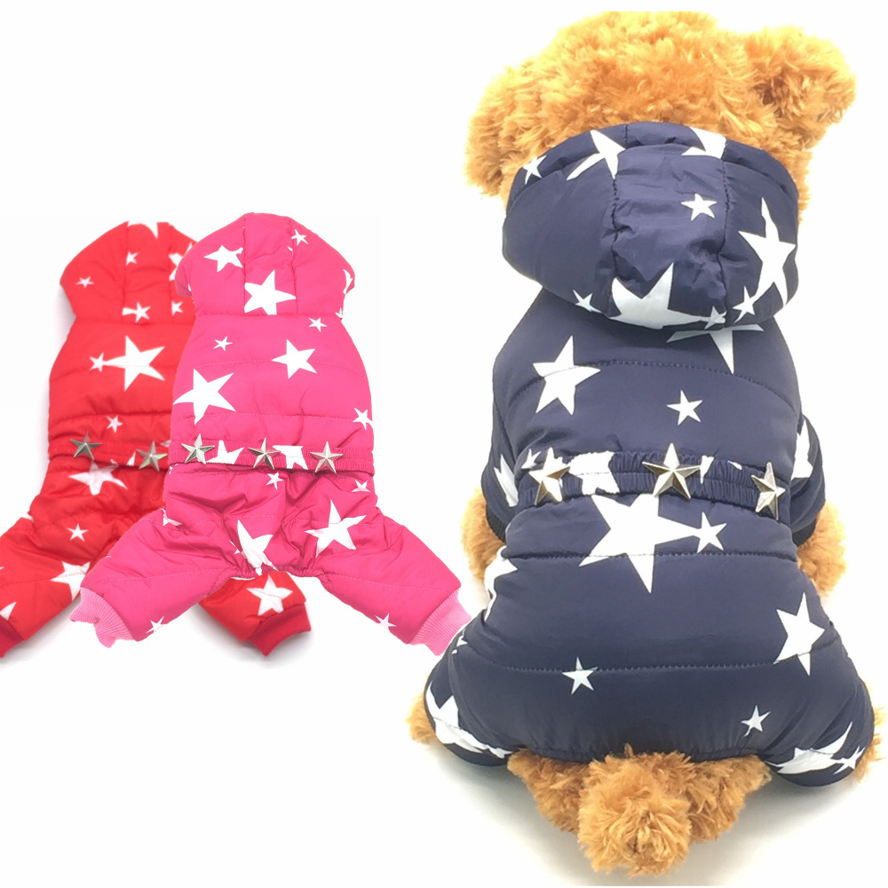KING-S PET Dogs Pets Clothing Coat Jacket Teddy Chihuahua Stars Clothes Small Dogs Four Legs Puppy Leisure Style Size S-XXL