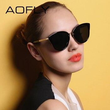 Aofly óculos de sol elegantes 2017 cat eye óculos de sol para as mulheres moda feminina óculos vintage metal pernas oculos feminino af7975