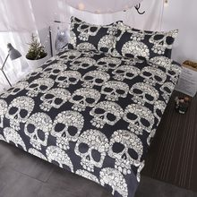 BlessLiving Sugar Skull Bedding Set Skull Flowers Roses Duvet Cover Black White Paradise Bed Sets 3 Piece Gothic Home Textiles(China)