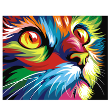Diy oil painting by numbers abstract painting calligraphy by number paint acrylic decorative canvas picture colorful cat E493(China)