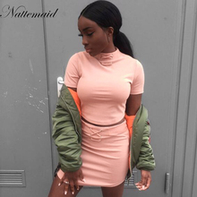 New 100% cotton material two pieces set women club wear clothing sexy crop tops and pencil skirt short sleeve two pieces outfits