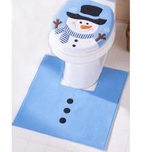 New Christmas Decoration for Home Bathroom Christmas Decor Blue Santa Toilet Seat Cover/ Foot Pad Paper Rug Bathroom Set