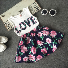2016 Children girls casual shirt Love Tank top + flower skirt clothes set summer fashion clothing set printed Baby clothes suit