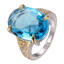 Hot Sale Huge Blue Crystal ZirconWhite Crystal Zircon 925 sterling silver Ring Size 6 7 8 9 10 F1298(China)