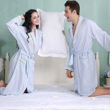 New Style Men Solid Color Male Kimono Robe Full Sleeve Turn-down Collar Nightwear Sleep Lounge Robes Summer Sexy Bath Robe