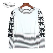 Fall Autumn White top with Belt Woman pullover sweater Elegant striped Tops Formal Clothing for Office lady WS-136