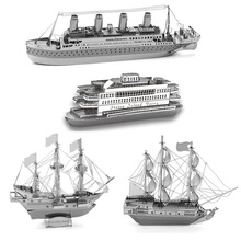 Hot Sale Ship 3D Metal Puzzle Model DIY Educational Jigsaws Black Pearl Toys For Kids/Adult