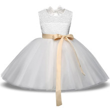 Baby Kids Girl Pageant Dress 2018 Princess Lace Flower Wedding Gown Children Ceremonies Dresses Teenage Girl Clothing 4 6 8 10T(China)