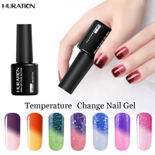 Huration 8ml Professional Temperature Change Color Nail Polish Soak Off Thermo Chameleon 29 Colors UV LED Lucky Gel