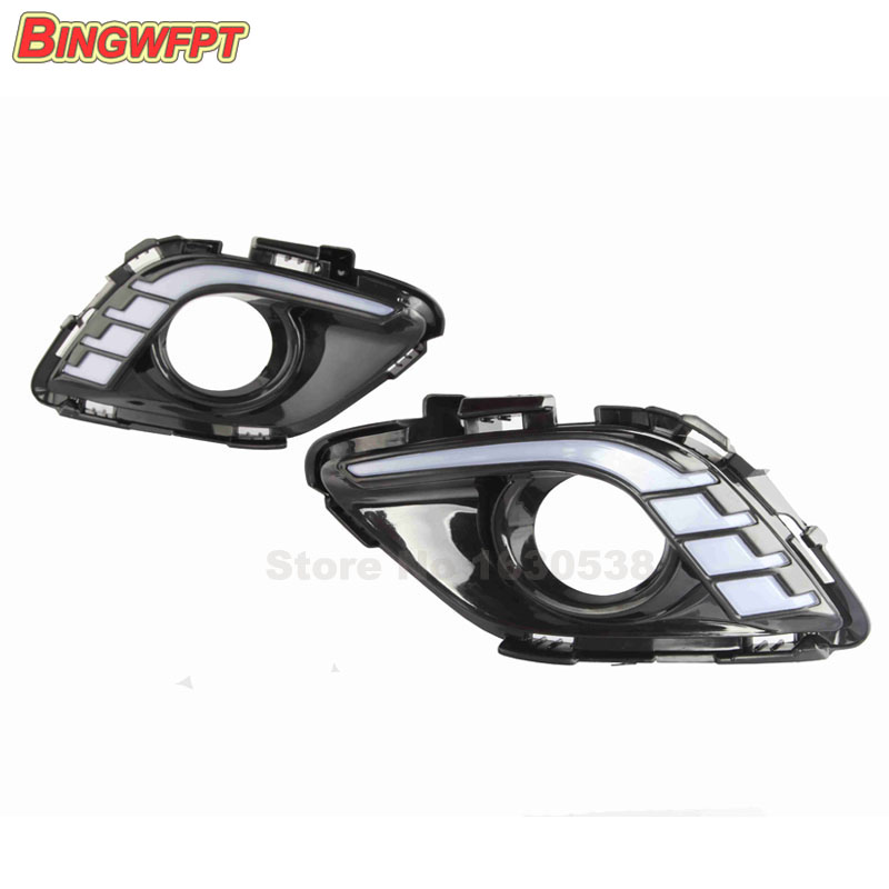 2Pcs DRL For Mazda 6 Atenza 2013 2014 2015 LED DRL Daytime Running Lights Daylight Fog light cover car styling<br>