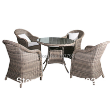 2014 Garden Style 5-piece Rough Rattan Dining Table and Chairs Set