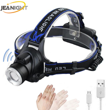 Body Motion Sensor LED Headlamp CREE XM-L T6 Headlight Rechargeable Flashlight Head Torch Lamp Use 18650 Battery USB Charge