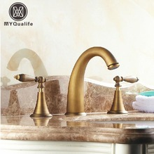 Brass Antique Deck Mount Dual Handles Basin Faucet 3pcs Bathroom Lavatory Washbasin Mixer Tap(China)