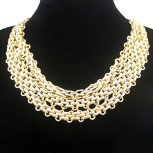 Cleopatra Gold Triple 12mm Panther Link Chain Mesh Choker Collar Bib Necklace Jewelry 2017 New