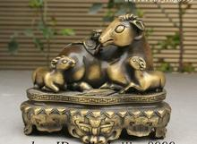 Dynasty China Pure Copper Hoptoad 3 Sheep Goat Statue On Lion Head Base