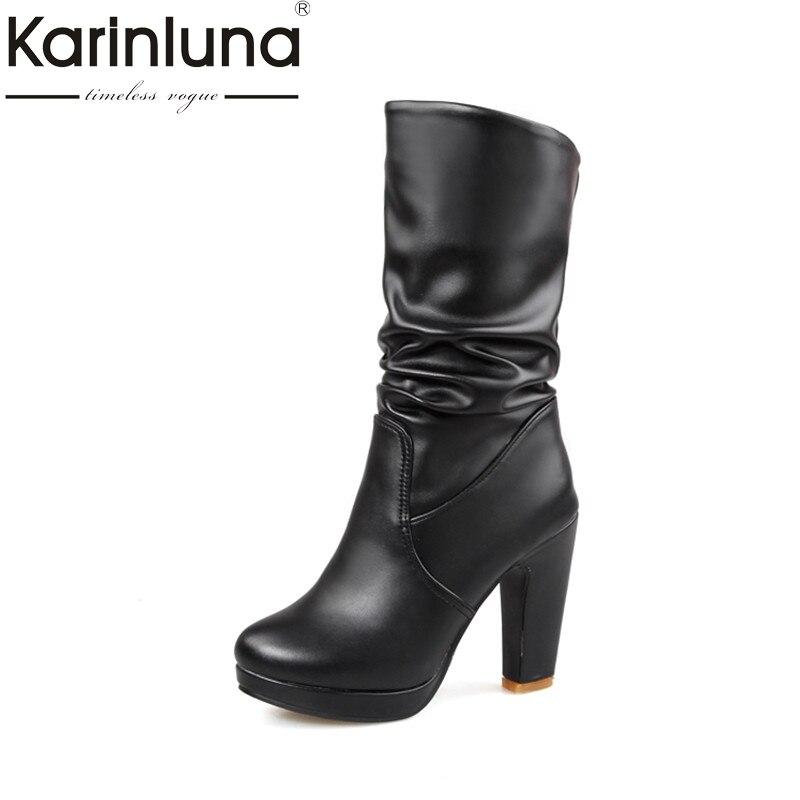 KARINLUNA 2017 Big Size 32-43 Platform Women Boots Fashion Spike High Heels Woman Shoes Leisure Winter Party Date Black White<br>