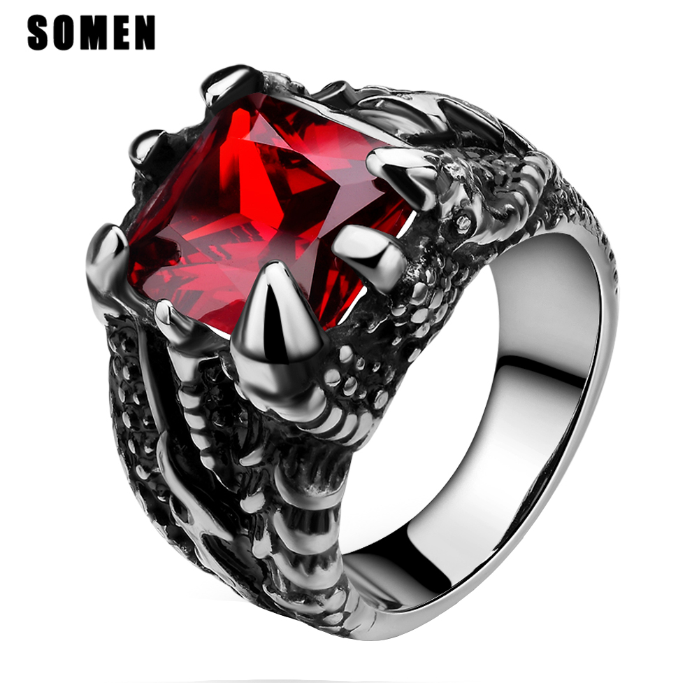 Men's Stainless Steel Claw Ring Vintage Gothic Dragon Claws Design Red Stone Biker Band Punk Rings caveira masculin Comfort Fit(China (Mainland))