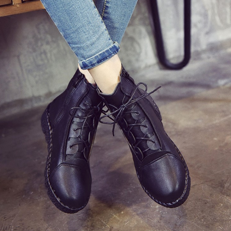 2017 Vintage Fashion Zapatos Mujer Ankle Boots casual leather round toe Snow Boots flat Martin Boots black red<br><br>Aliexpress