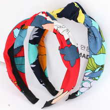 4pcs/lot Knotted Large Flowers Headbands For Girls Colourful Stretchy Twisted Turban Women Floral Hair Bands Hair Accessories(China)
