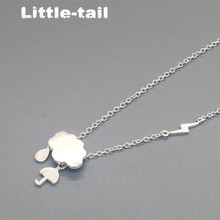925 sterling silver clouds rain weather umbrella creative drawing Cute short necklace accessories bestie female clavicle