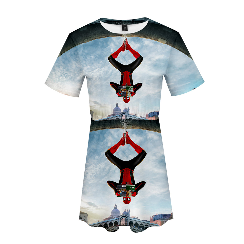 spider man far from home 3D Dress Hot Short Sleeve T-shirt and Short skirt suit Two Piece High Quality Casual New dress